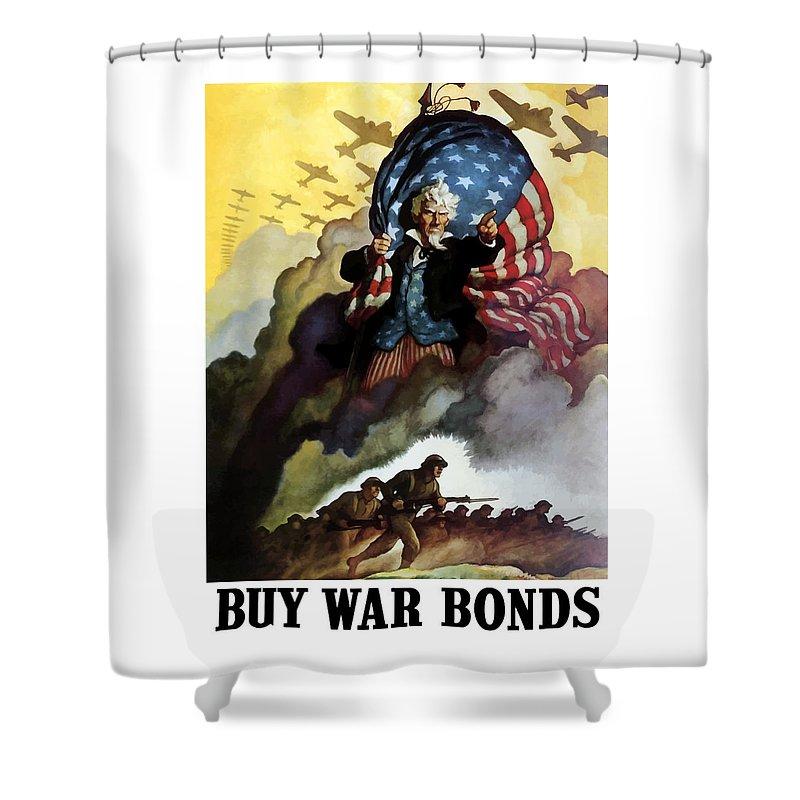 Uncle Sam Shower Curtain featuring the painting Uncle Sam - Buy War Bonds by War Is Hell Store