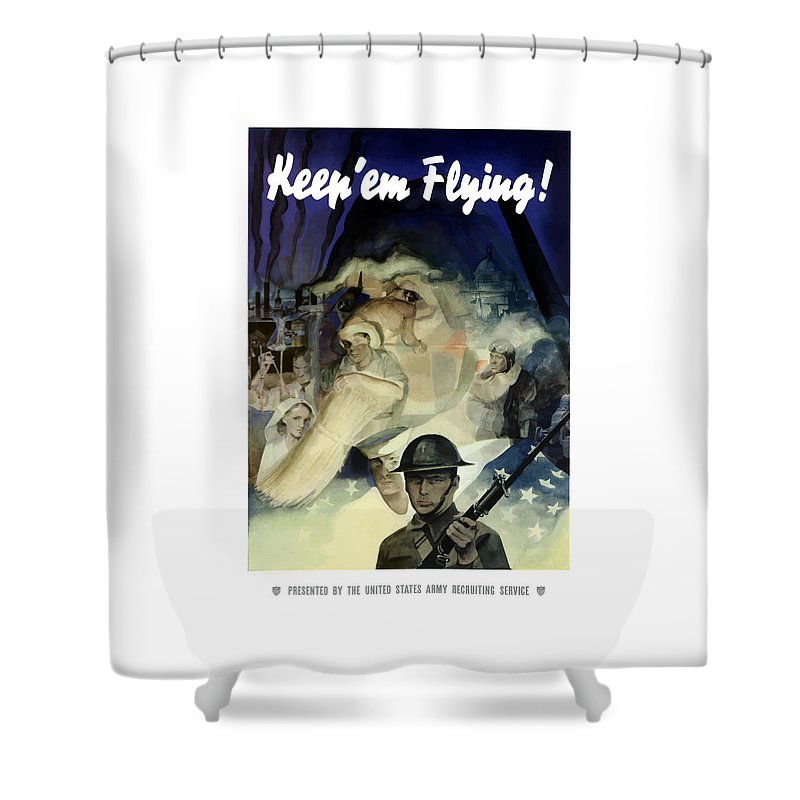 Army Shower Curtain featuring the painting Keep 'em Flying - Uncle Sam by War Is Hell Store