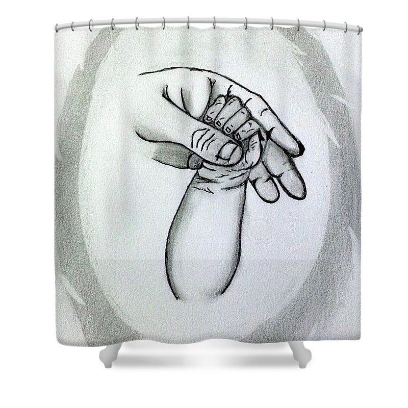 Mother Shower Curtain Featuring The Drawing Unconditional Love By Deepa Sahoo