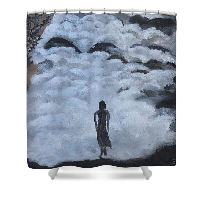 Woman Silhouette Shower Curtain featuring the painting Undaunted by Sally Jones