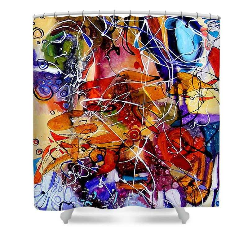 Abstract Shower Curtain featuring the painting Unde Timpul Iti Spune Povesti by Elena Bissinger