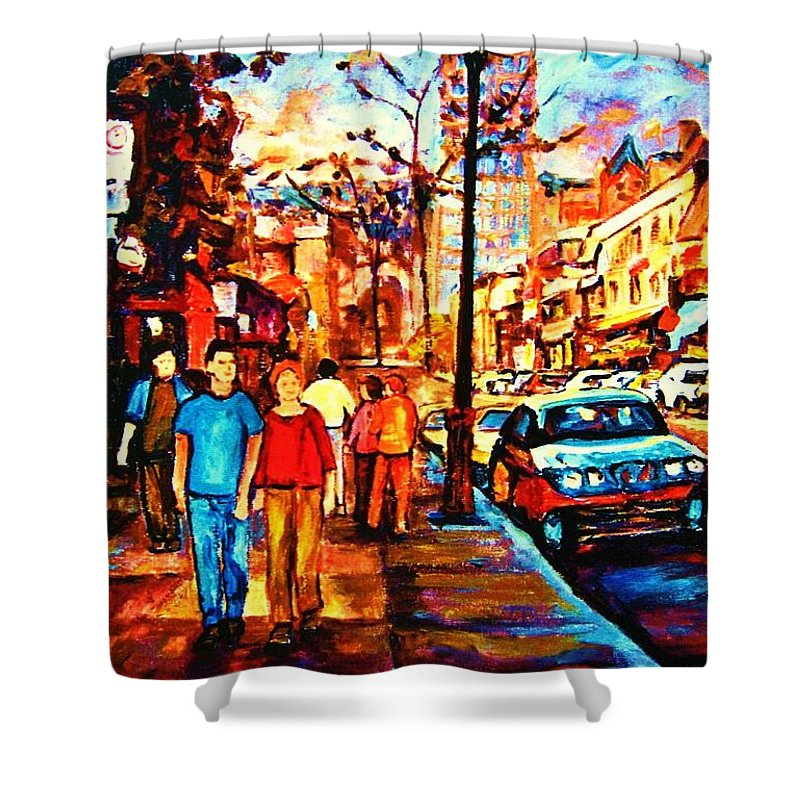 Montrealstreetscene Shower Curtain featuring the painting Under A Crescent Moon by Carole Spandau