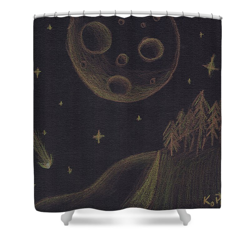 Inverse Shower Curtain featuring the mixed media Under Alien Atars by Kitty Perkins