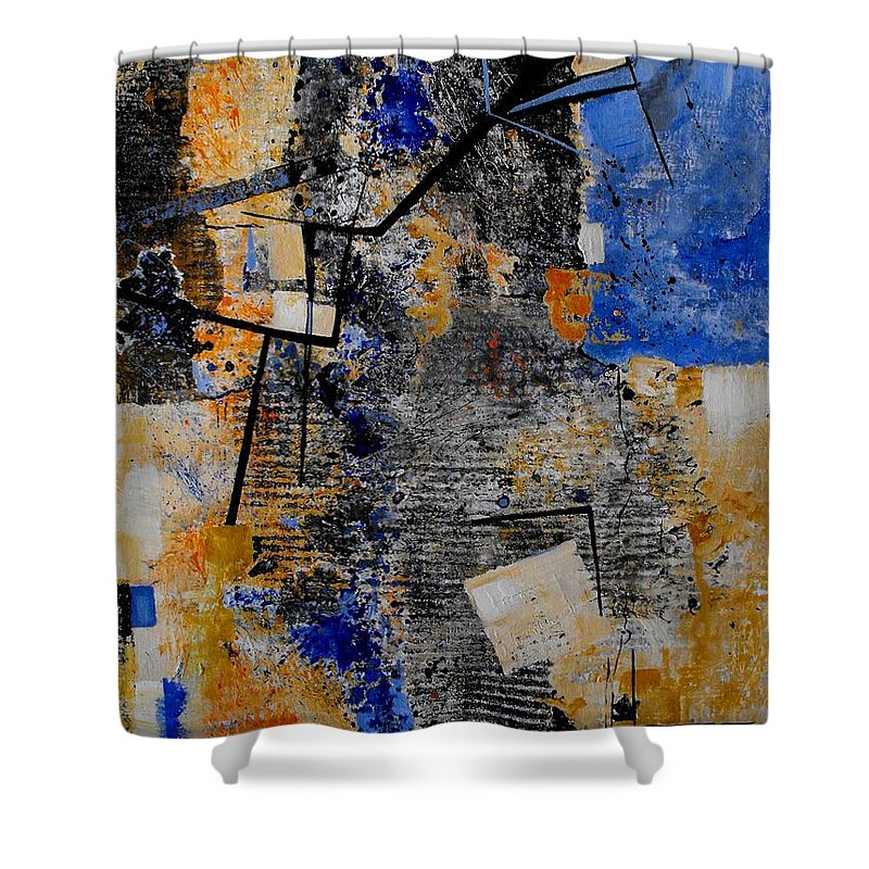 Abstract Shower Curtain featuring the painting Under Construction by Ruth Palmer