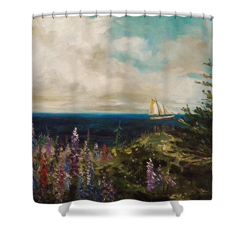 Sail Shower Curtain featuring the painting Under Full Sail by John Williams