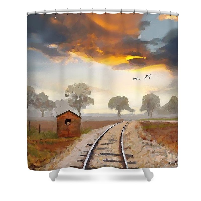 Under Gods Eye. Landscape By Craig Nelson Shower Curtain featuring the painting Under Gods Eye by Craig Nelson