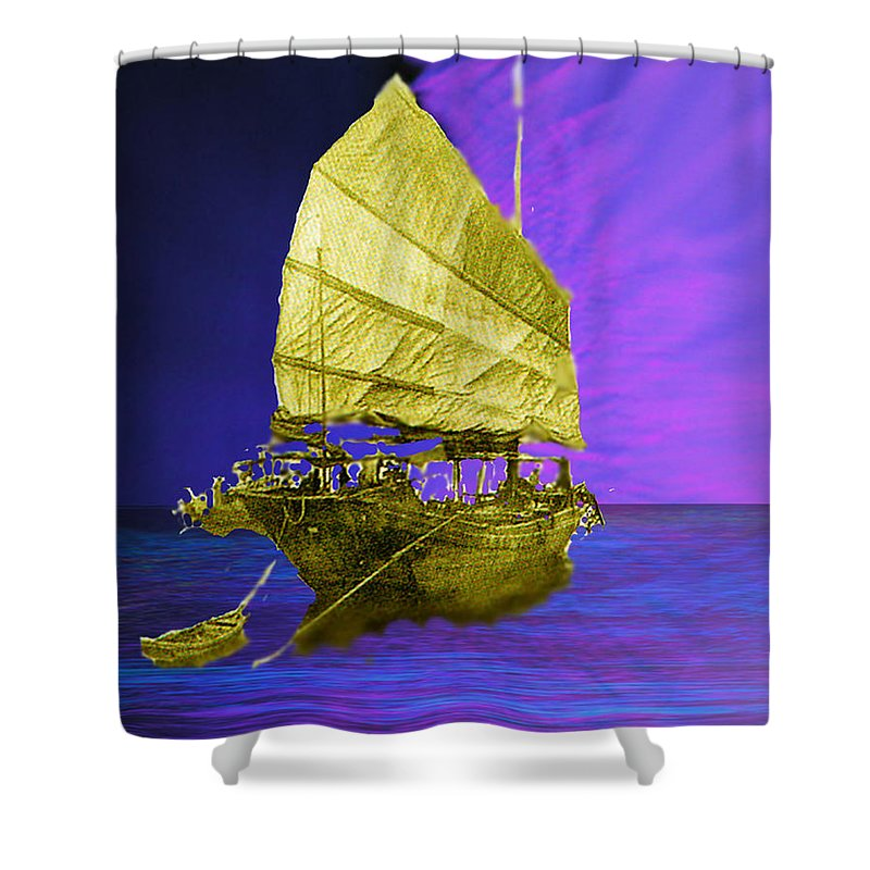 Nautical Shower Curtain featuring the digital art Under Golden Sails by Seth Weaver
