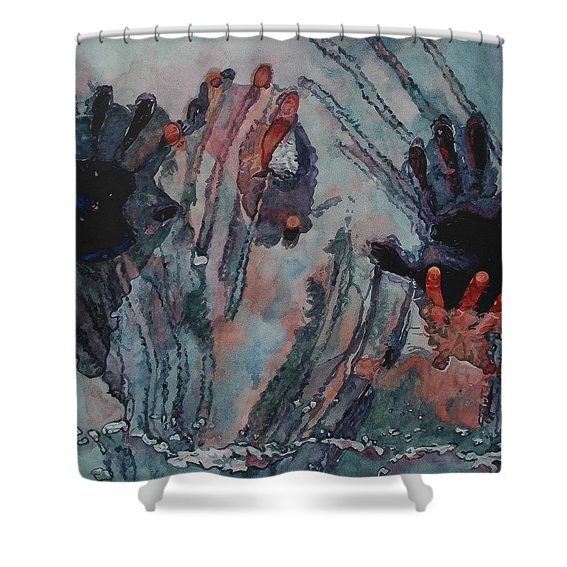 Underneath Shower Curtain featuring the painting Under Ice by Valerie Patterson