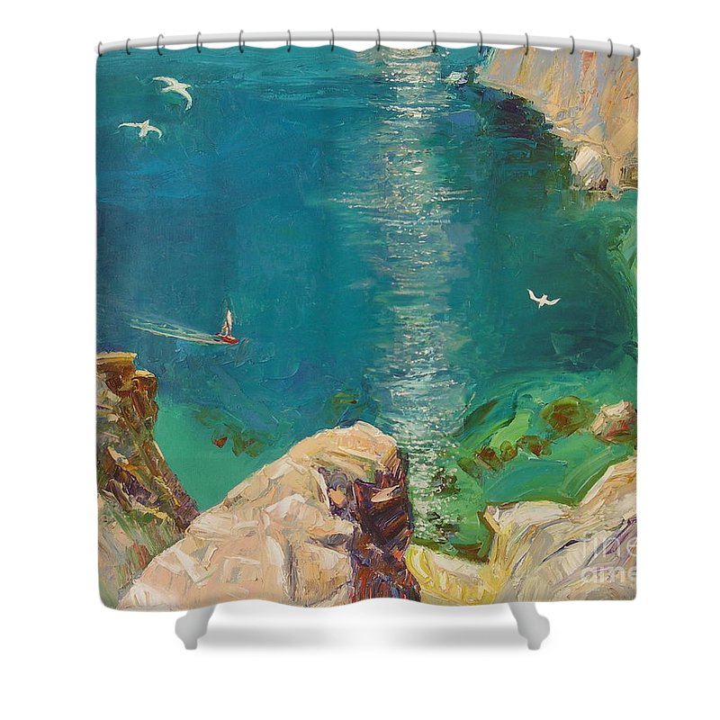 Landscape Shower Curtain featuring the painting Under Motyl by Sergey Ignatenko