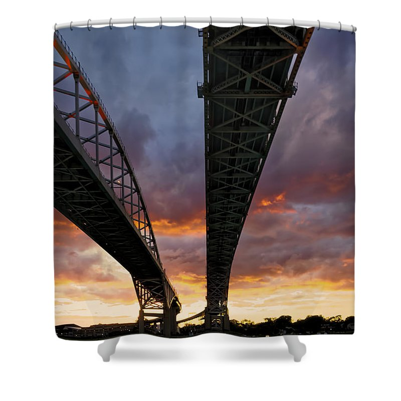 Blue Water Bridge Shower Curtain featuring the photograph Under The Bridge by Phill Doherty