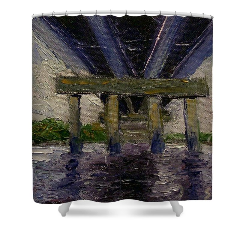 Oil Shower Curtain featuring the painting Under The Bridge by Stephen King