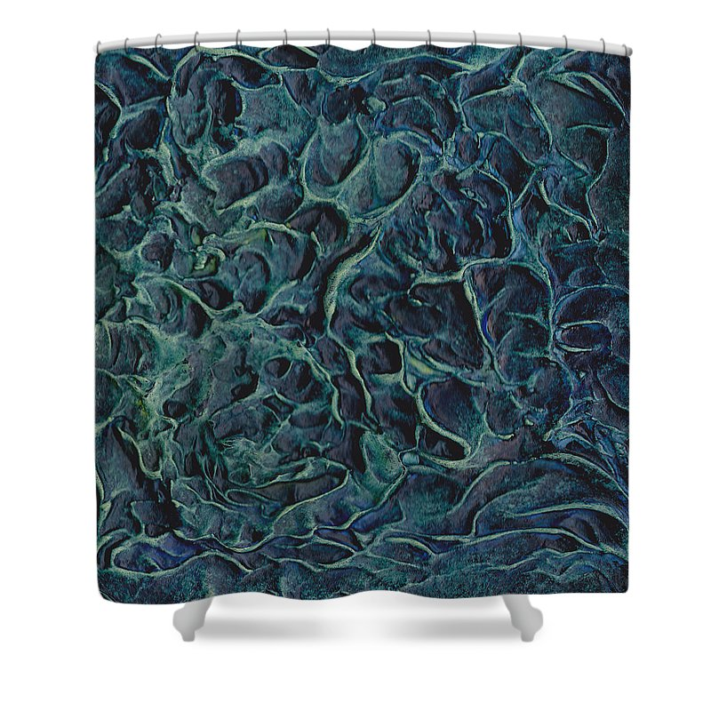 Deep Shower Curtain featuring the painting Under The Deep Blue Sea by Elizabeth Lisy Figueroa