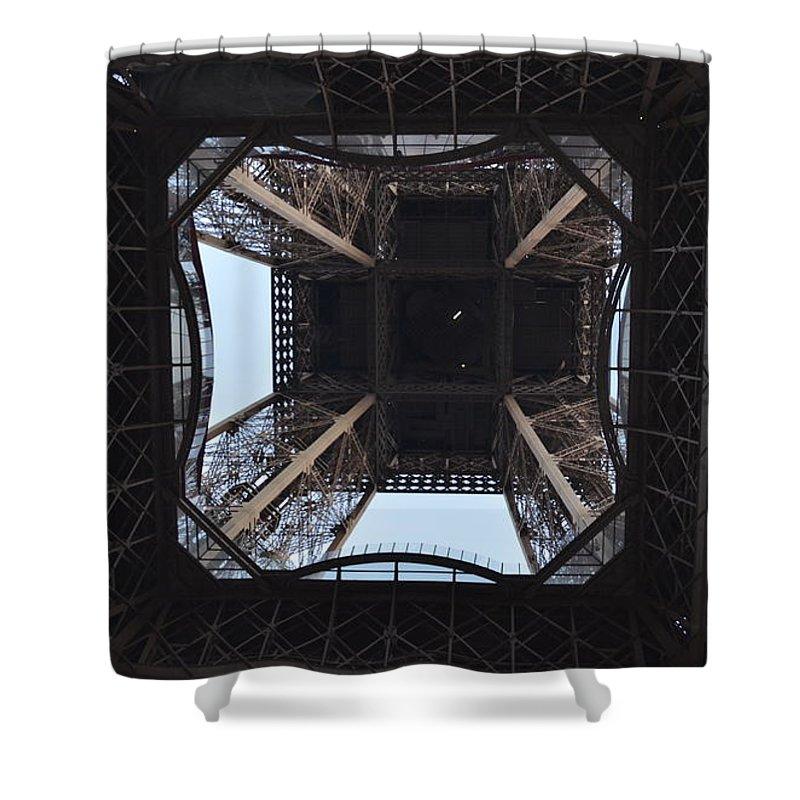 Eiffel Tower Shower Curtain featuring the photograph Under The Eiffel by Dawn Crichton