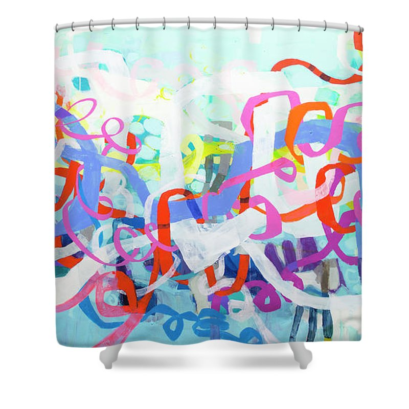 Abstract Shower Curtain featuring the painting Under The Electric Candelabra by Claire Desjardins