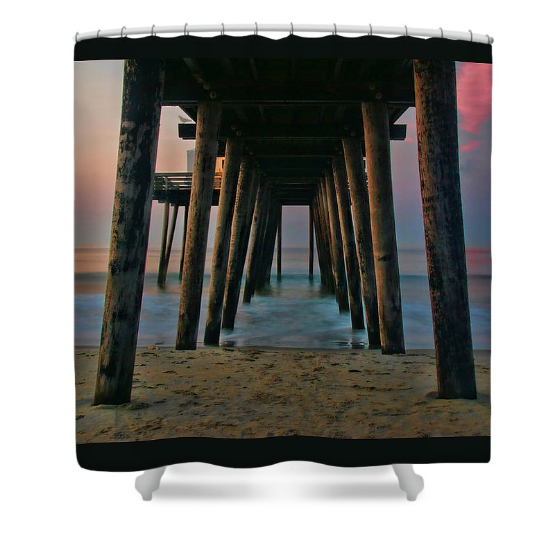 Sunrise Shower Curtain featuring the photograph Under The Pier by Allen Beatty