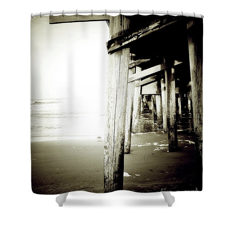Florida Shower Curtain featuring the photograph Under The Pier Extreme by Chris Andruskiewicz