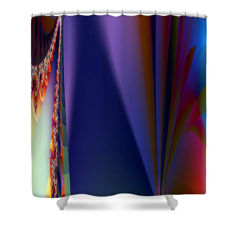 Clay Shower Curtain featuring the digital art Under The Rainbow by Clayton Bruster