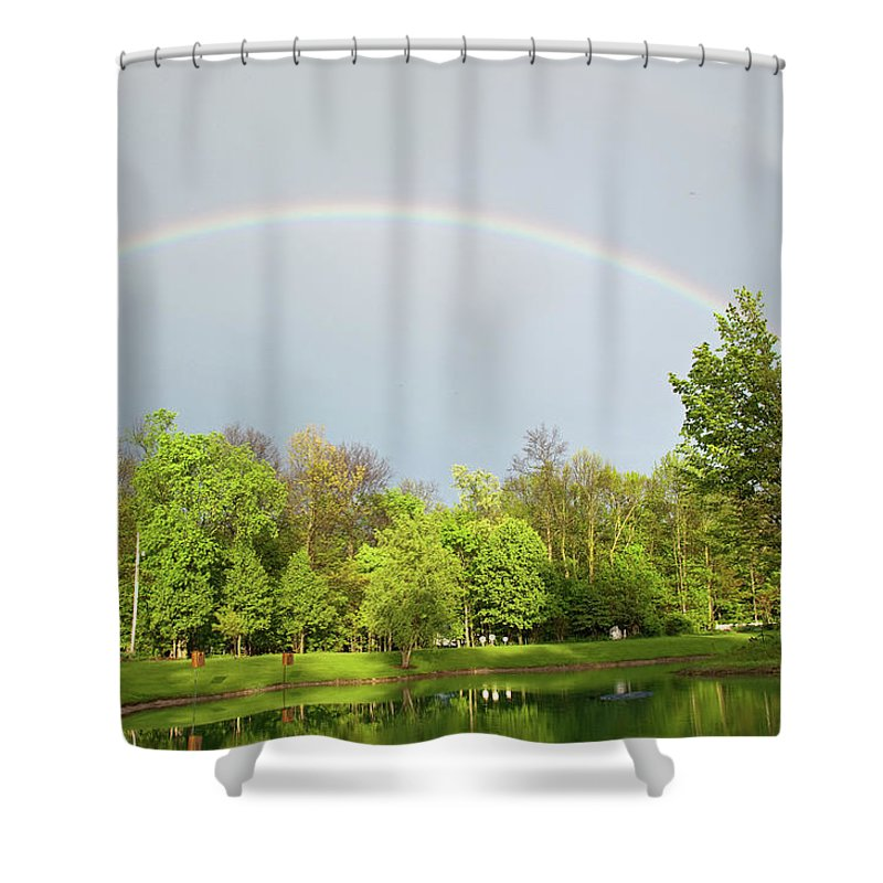 Rainbow Shower Curtain featuring the photograph Under The Rainbow by David Arment
