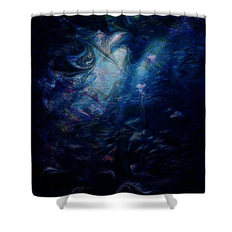 Abstract Shower Curtain featuring the digital art Under the Sea by William Russell Nowicki