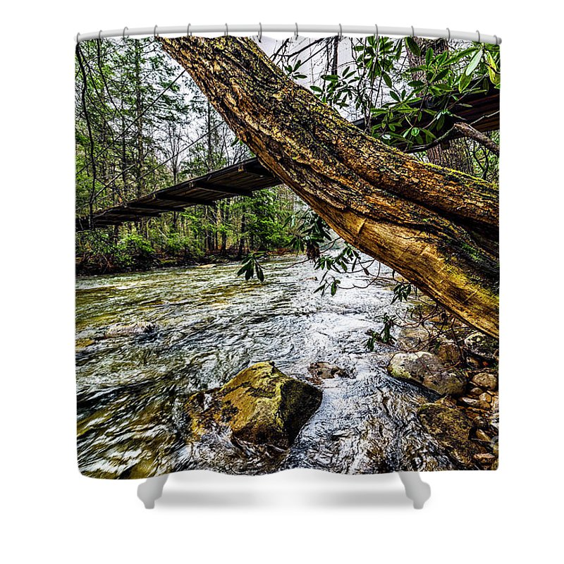 Elk River Shower Curtain featuring the photograph Under The Swinging Bridge by Thomas R Fletcher