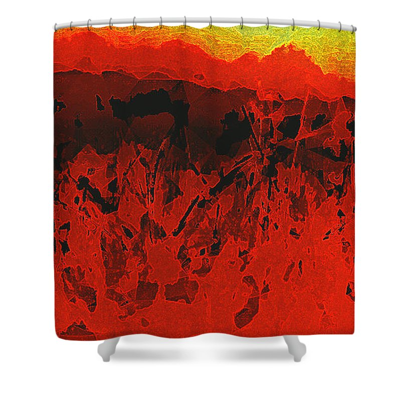 Abstract Shower Curtain featuring the digital art Underneath It All...lies by Aurora Art