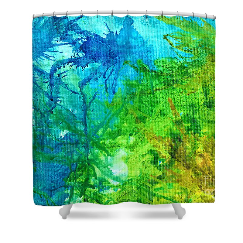 Alcoholink Shower Curtain featuring the painting Undersea Corals by Cathlyn Driscoll