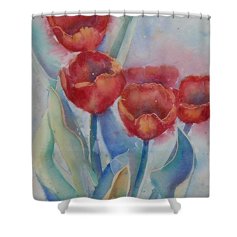 Flowers Shower Curtain featuring the painting Undersea Tulips by Ruth Kamenev
