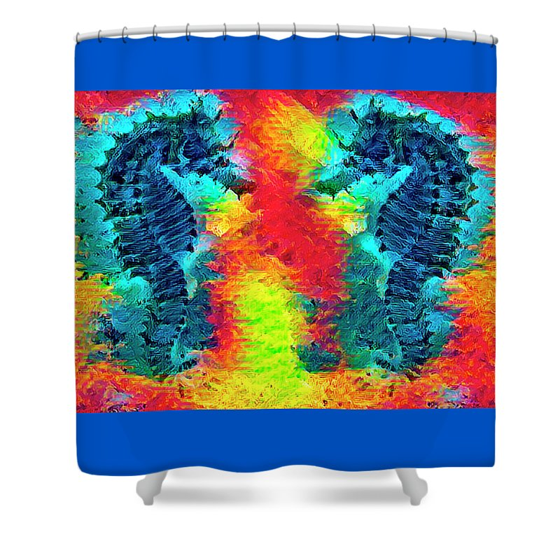 Florida Shower Curtain featuring the photograph Underwater Rainbow Seahorses by Debra and Dave Vanderlaan