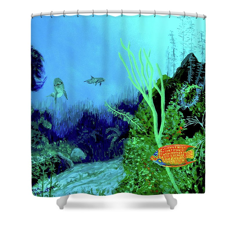 Wildlife Shower Curtain featuring the painting Underwater by Stan Hamilton