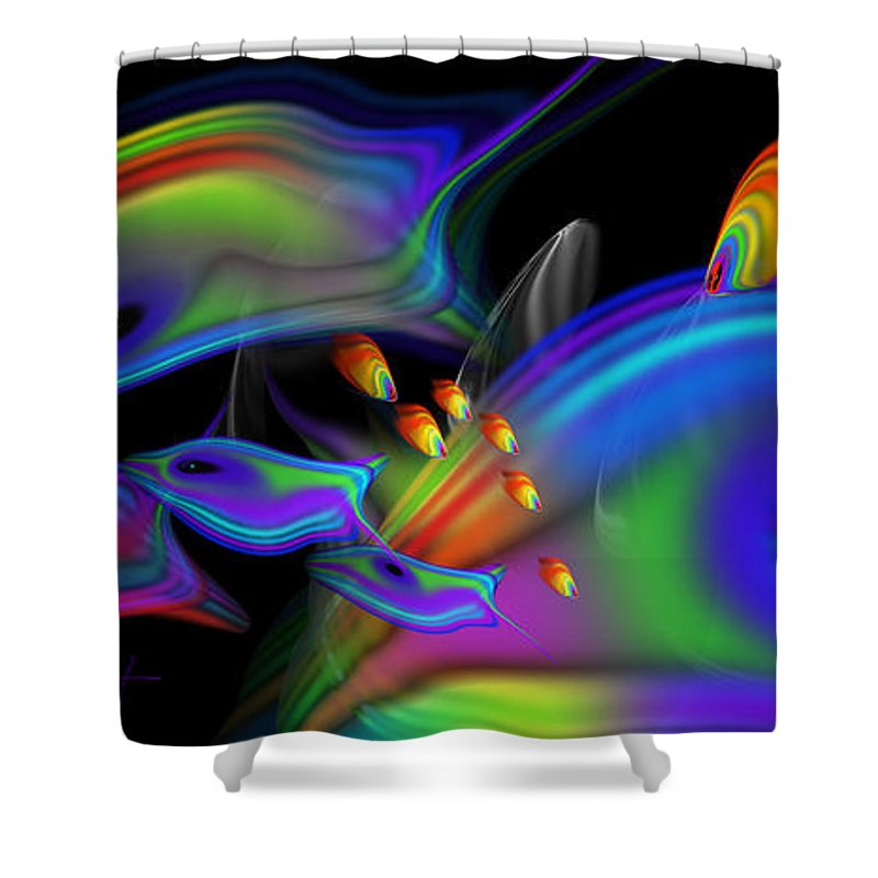 Coral Reef Shower Curtain featuring the painting Underwater View 2 by Charles Stuart