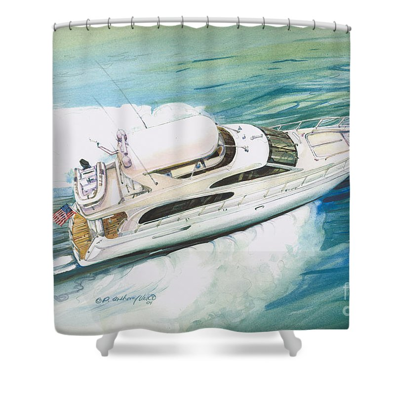 Commissioned Painting Shower Curtain featuring the painting Underway by P Anthony Visco