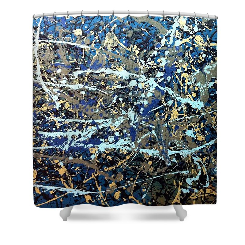 Movement Shower Curtain featuring the painting Une Tempete by Solenn Carriou
