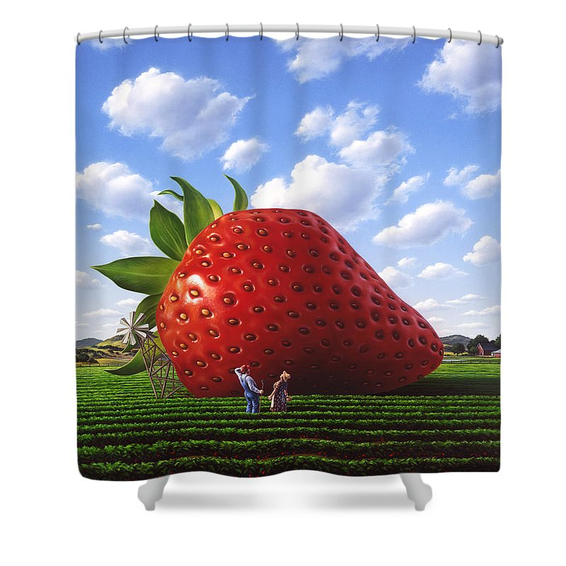Strawberry Shower Curtain featuring the painting Unexpected Growth by Jerry LoFaro