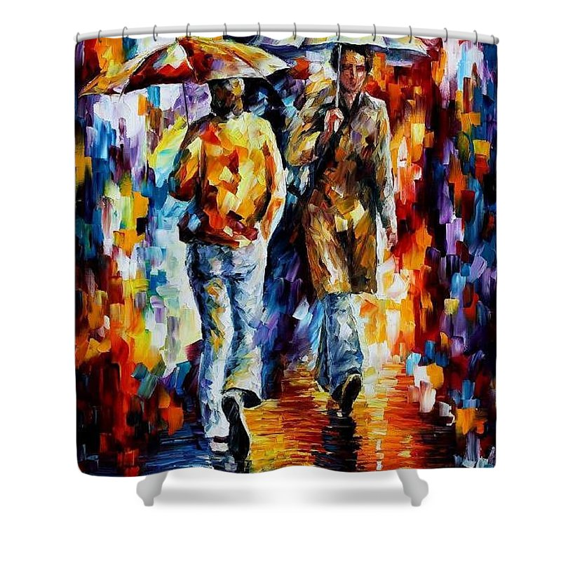 Afremov Shower Curtain featuring the painting Unexpected Meeting by Leonid Afremov