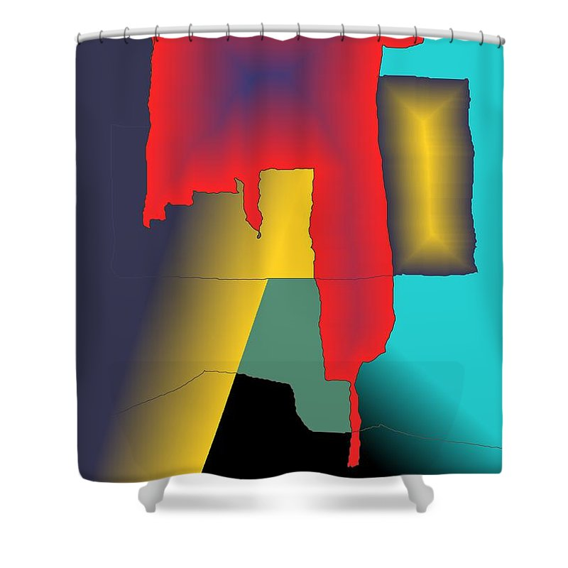 Red Shower Curtain featuring the digital art Unexpected- Red by Helmut Rottler