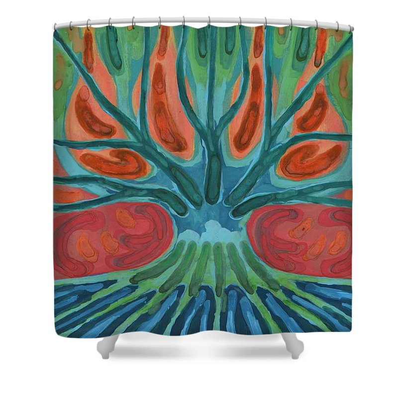 Colour Shower Curtain featuring the painting Unfinished Tree by Wojtek Kowalski