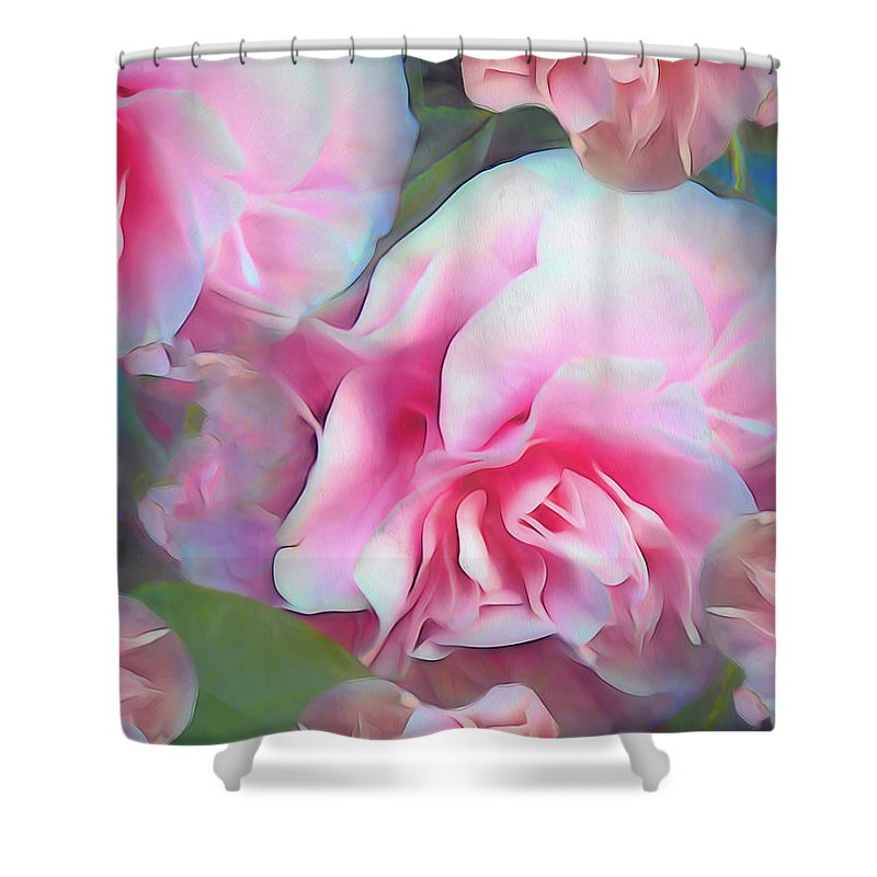 Rose Shower Curtain featuring the mixed media Unfolding Grace 5 by Lynda Lehmann
