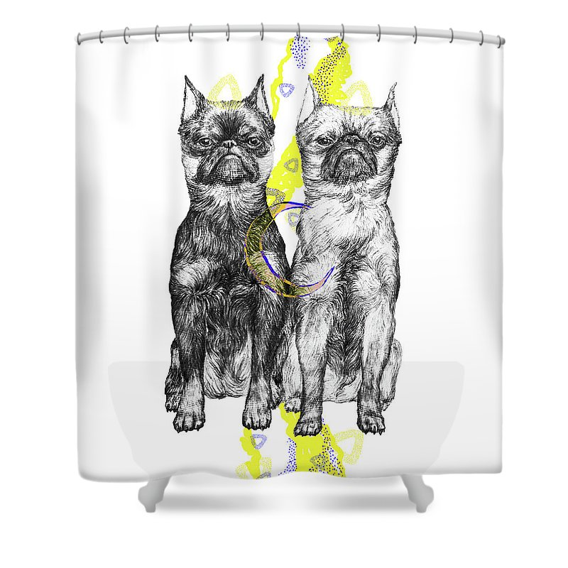 Dog Art Shower Curtain featuring the drawing Unhappy by Elizaveta Mikheeva