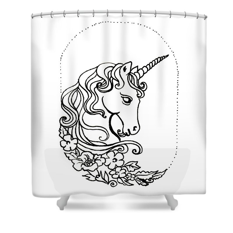 Unicorn Shower Curtain featuring the drawing Unicorn Cameo by Katherine Nutt