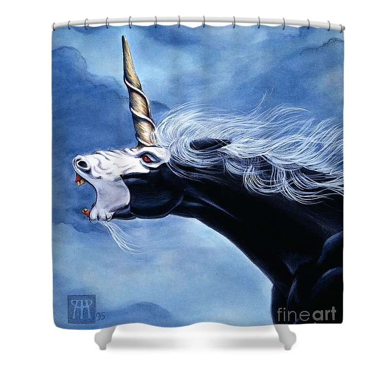 Unicorn Shower Curtain featuring the painting Unicorn Fury by Melissa A Benson