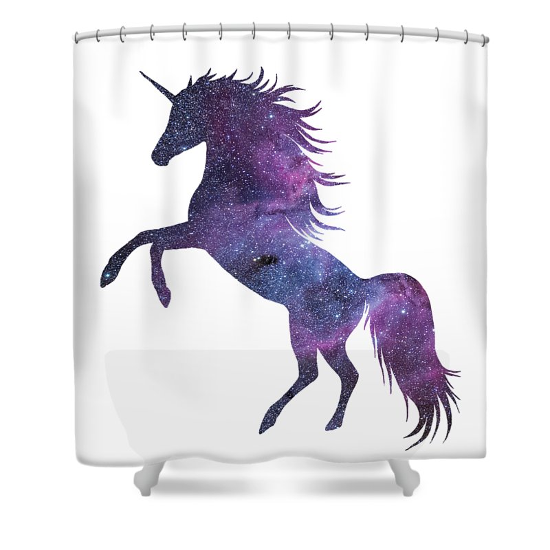 Unicorn Shower Curtain Featuring The Digital Art In Space Transparent Background By Anna W