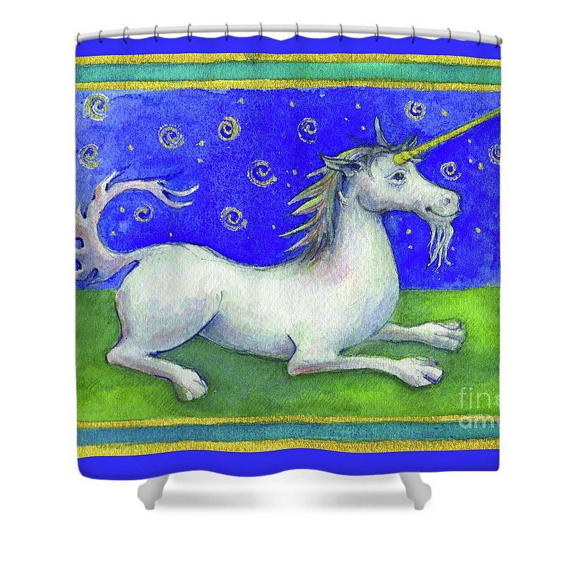 Unicorn Shower Curtain featuring the painting Unicorn by Lora Serra