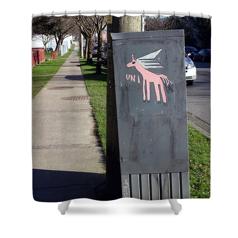 Mail Box Shower Curtain featuring the photograph Unicorn Mail Delivery by Minaz Jantz