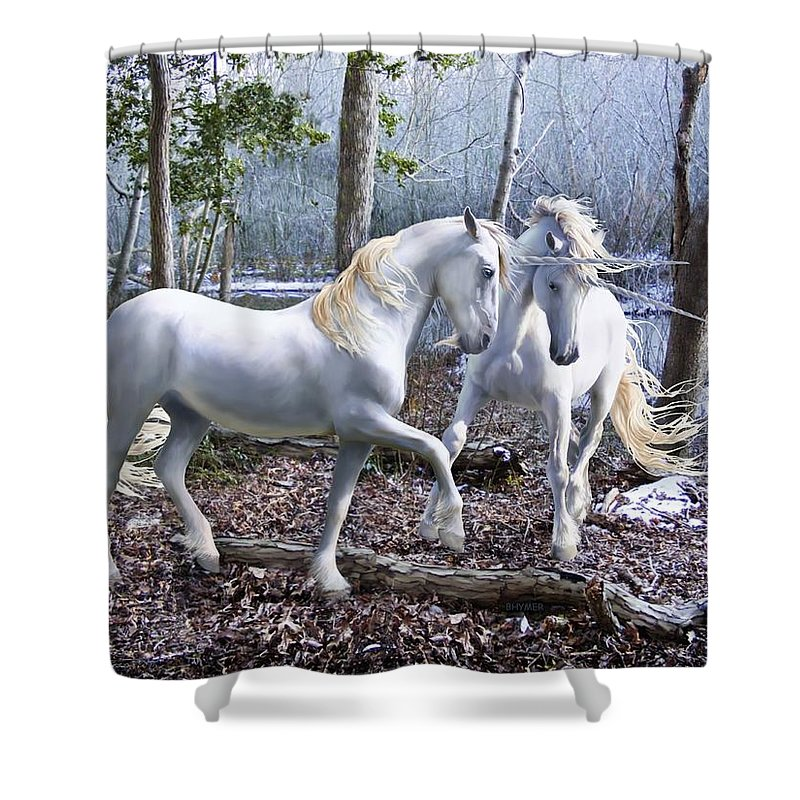 Unicorn Shower Curtain featuring the photograph Unicorn Reunion by Barbara Hymer