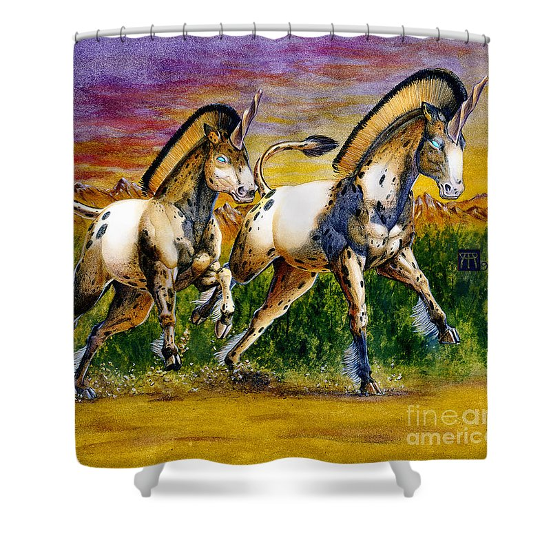 Artwork Shower Curtain featuring the painting Unicorns In Sunset by Melissa A Benson