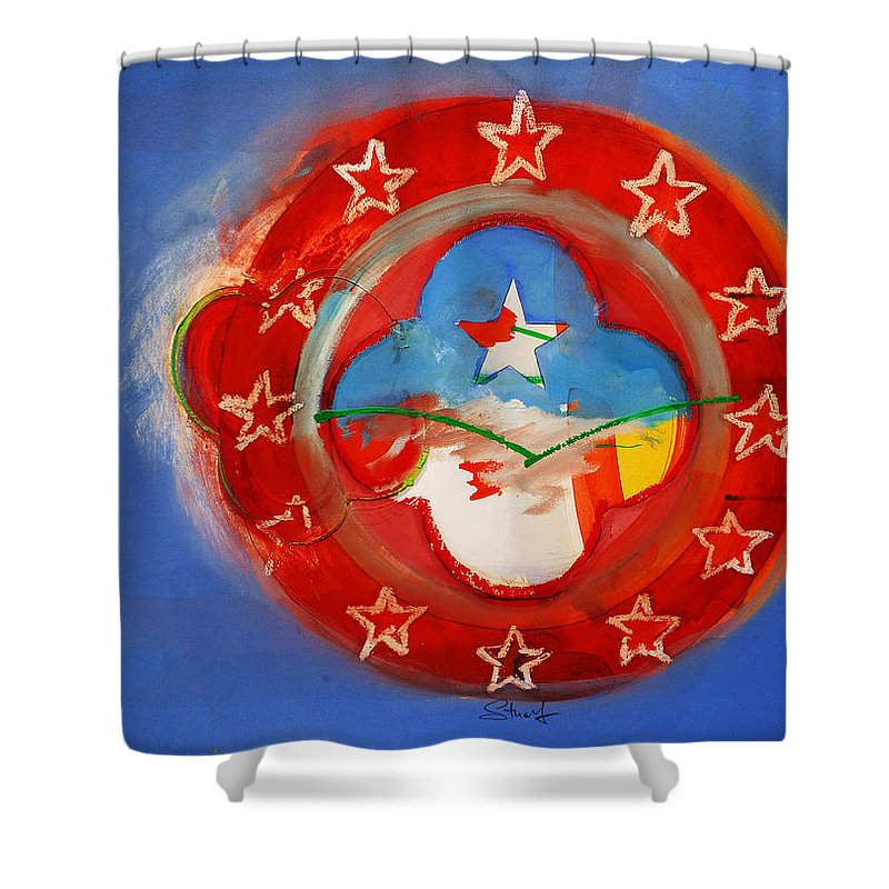 Symbol Shower Curtain featuring the painting Union Blue by Charles Stuart