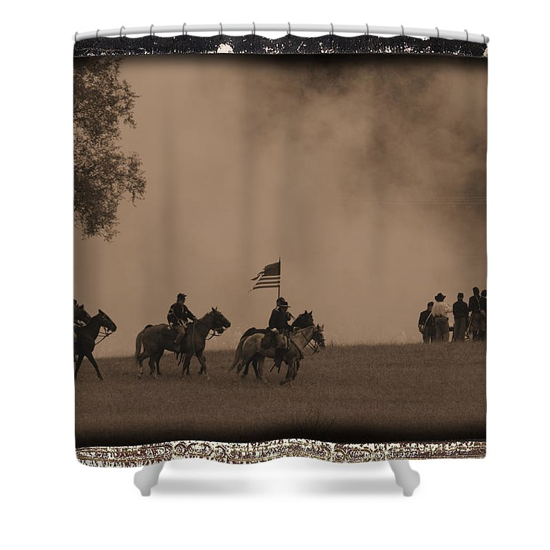 Civil War Shower Curtain featuring the photograph Union Cavalry Charge by Tommy Anderson
