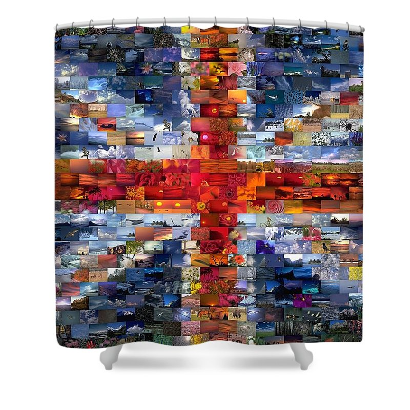 Uk Shower Curtain featuring the mixed media Union Jack Flag Mosaic by Paul Van Scott