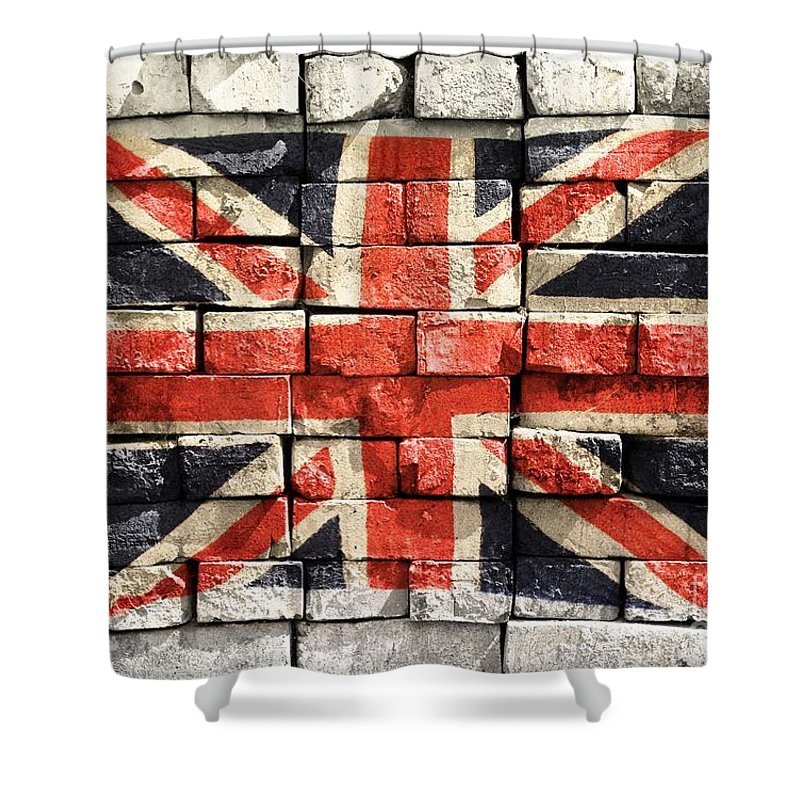 United Kingdom Shower Curtain Featuring The Photograph Union Jack Graffiti By Clare Bevan