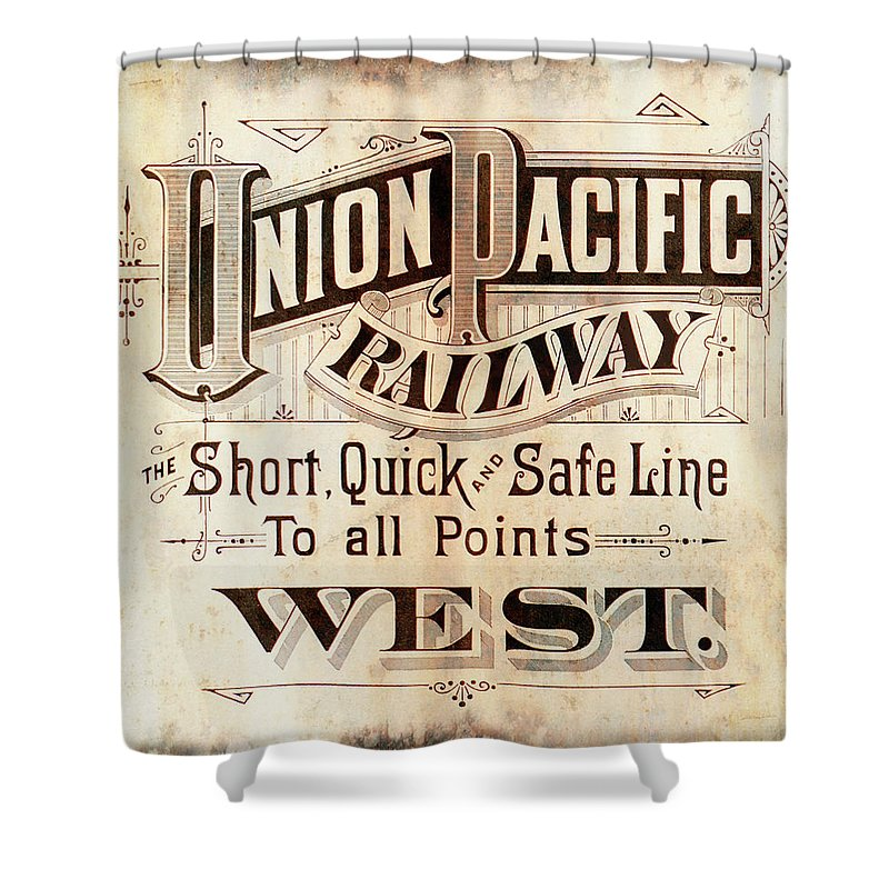 Union Pacific Shower Curtain featuring the mixed media Union Pacific Railroad - Gateway To The West 1883 by Daniel Hagerman